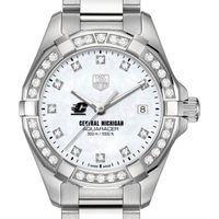 Central Michigan University Women's TAG Heuer Steel Aquaracer with MOP Diamond Dial & Bezel