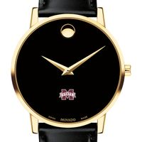 Mississippi State Men's Movado Gold Museum Classic Leather
