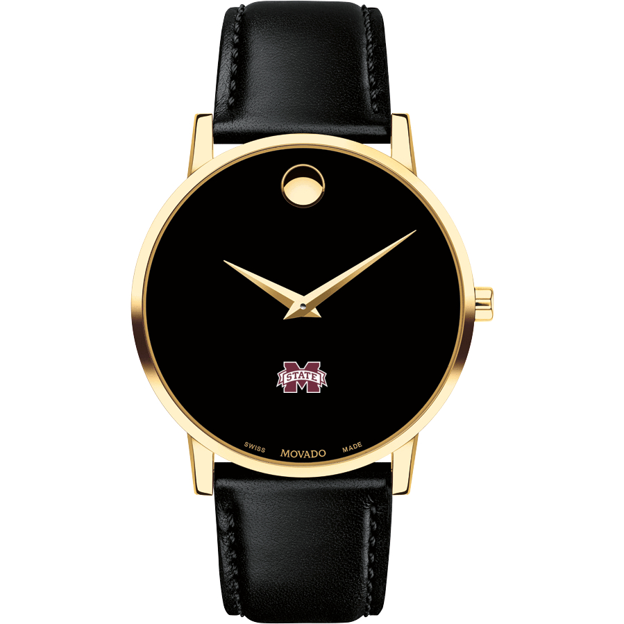 Mississippi State Men's Movado Gold Museum Classic Leather - Image 2