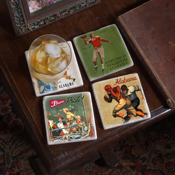 Alabama Vintage Football Marble Coasters - Image 2