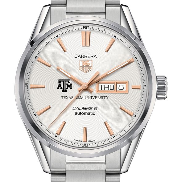 Texas A&M University Men's TAG Heuer Day/Date Carrera with Silver Dial & Bracelet