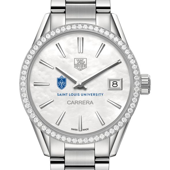 Saint Louis University Women's TAG Heuer Steel Carrera with MOP Dial & Diamond Bezel