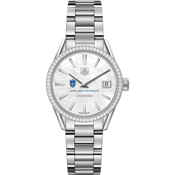 Saint Louis University Women's TAG Heuer Steel Carrera with MOP Dial & Diamond Bezel - Image 2