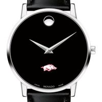 University of Arkansas Men's Movado Museum with Leather Strap