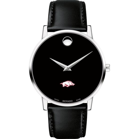 University of Arkansas Men's Movado Museum with Leather Strap - Image 2