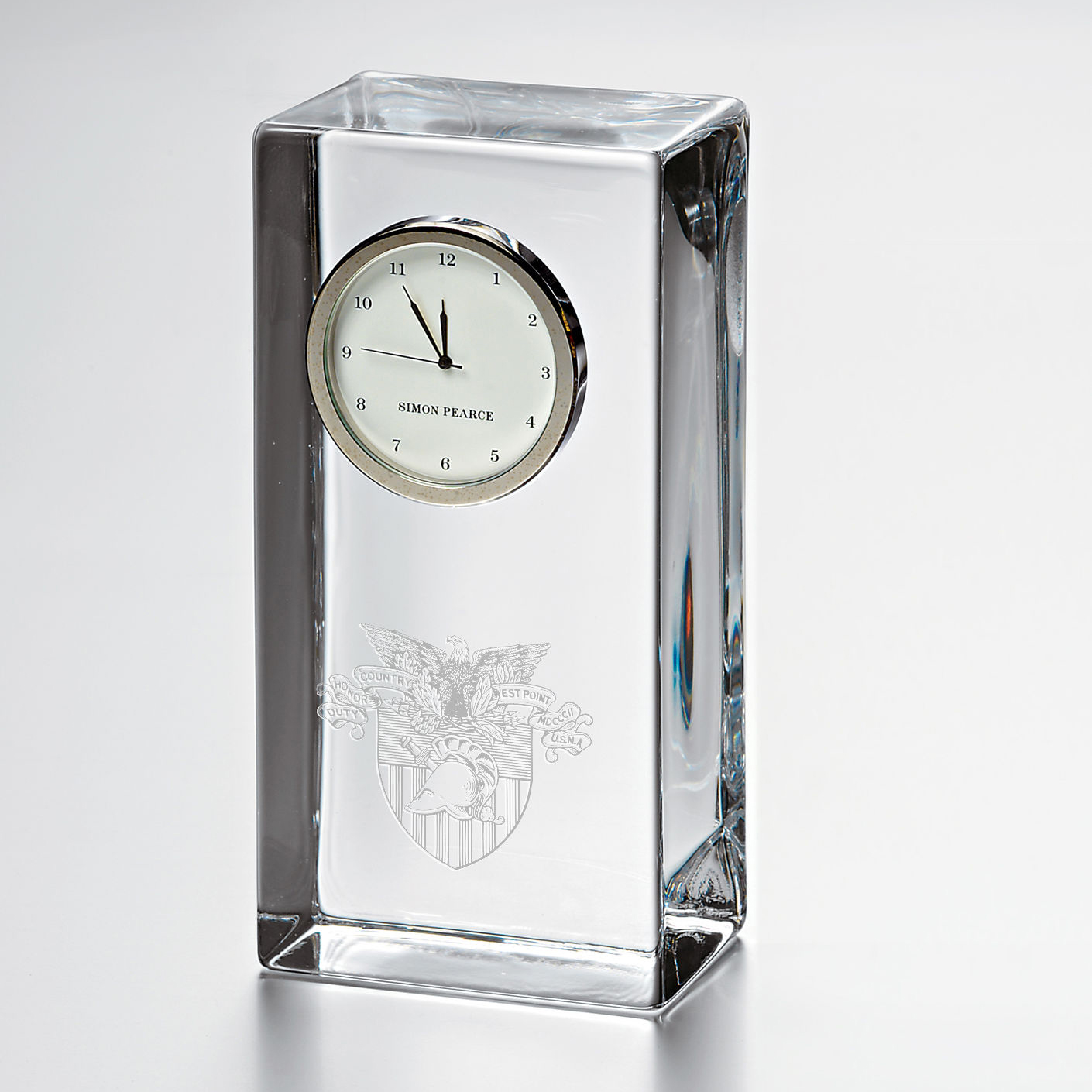 West Point Tall Glass Desk Clock by Simon Pearce