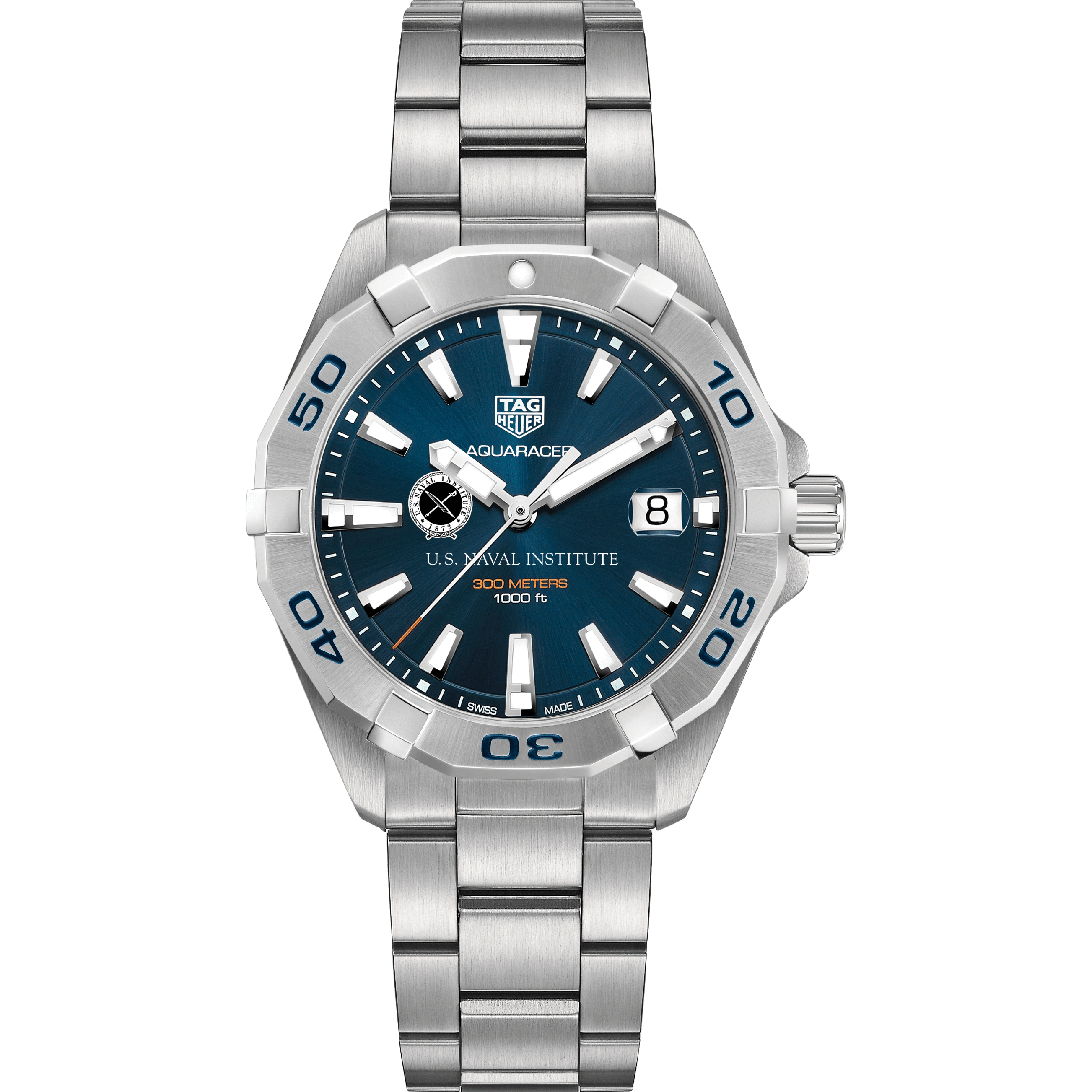 US Naval Institute Men's TAG Heuer Steel Aquaracer with Blue Dial - Image 2