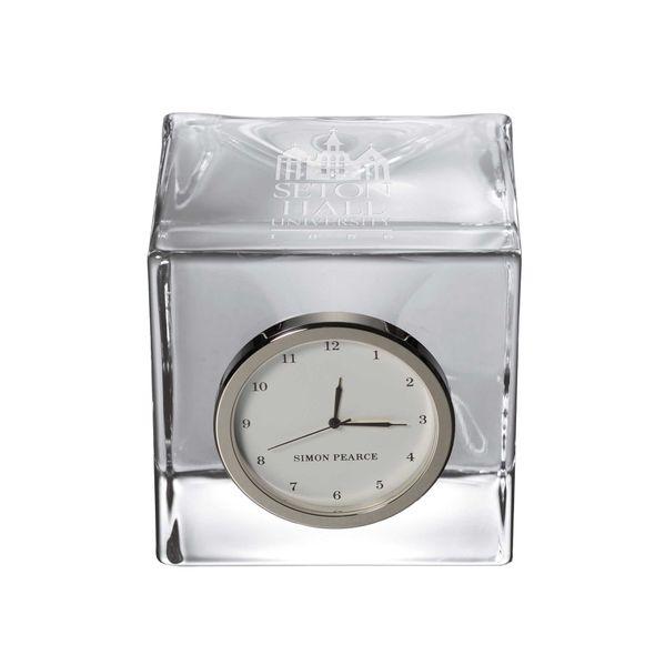 Seton Hall Glass Desk Clock by Simon Pearce - Image 1