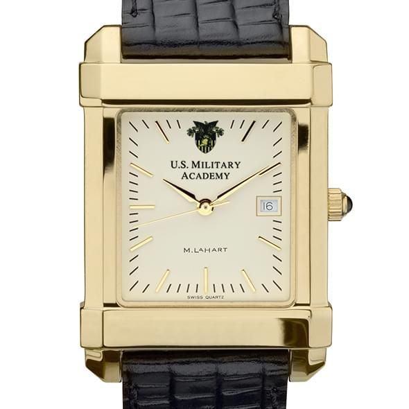 West Point Men's Gold Quad Watch with Leather Strap - Image 1