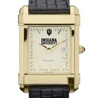 Indiana University Men's Gold Quad with Leather Strap