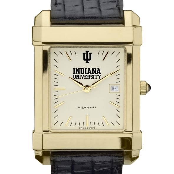 Indiana University Men's Gold Quad with Leather Strap - Image 1