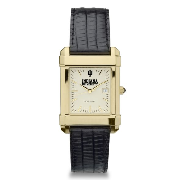 Indiana University Men's Gold Quad with Leather Strap - Image 2
