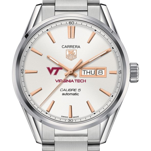 Virginia Tech Men's TAG Heuer Day/Date Carrera with Silver Dial & Bracelet
