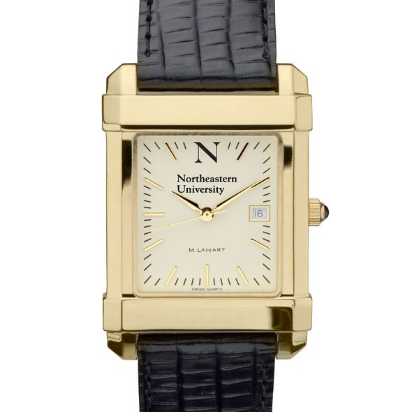 Northeastern Men's Gold Quad with Leather Strap