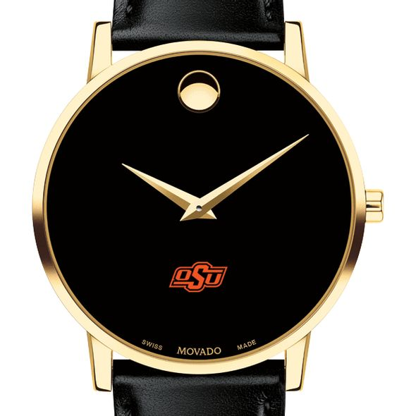 Oklahoma State University Men's Movado Gold Museum Classic Leather