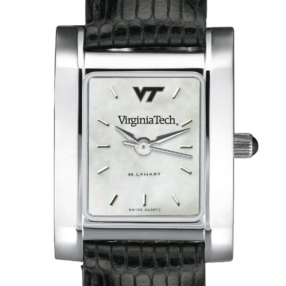 Virginia Tech Women's Mother of Pearl Quad Watch with Leather Strap