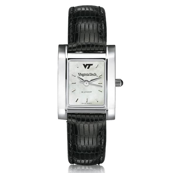 Virginia Tech Women's Mother of Pearl Quad Watch with Leather Strap - Image 2