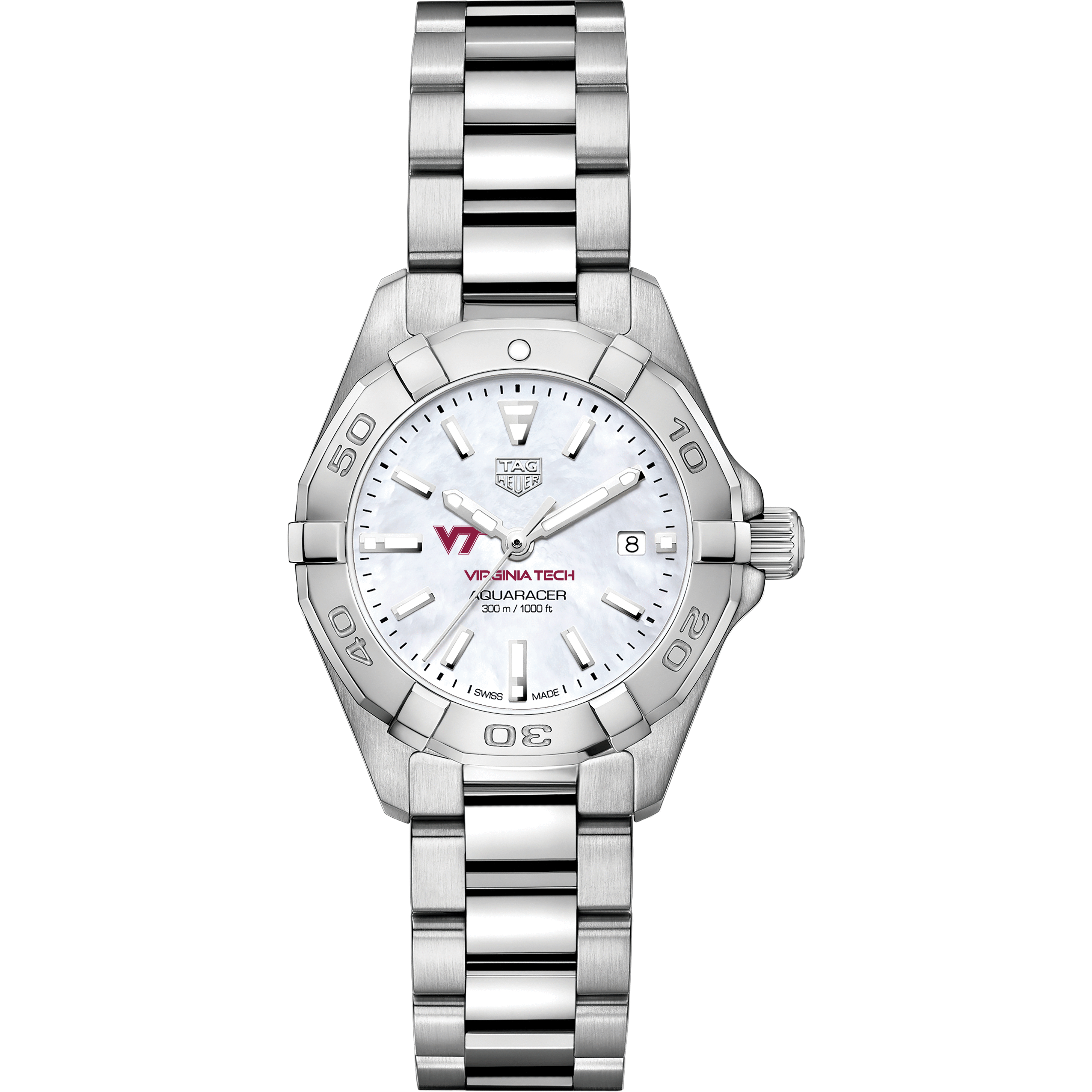 Virginia Tech Women's TAG Heuer Steel Aquaracer with MOP Dial - Image 2