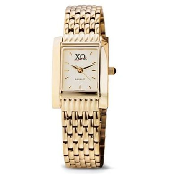 Chi Omega Women's Gold Quad Watch with Bracelet - Image 1