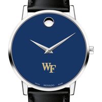 Wake Forest University Men's Movado Museum with Blue Dial & Leather Strap
