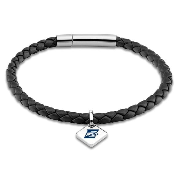 Emory Leather Bracelet with Sterling Silver Tag - Black