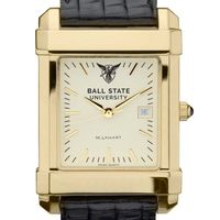 Ball State Men's Gold Quad with Leather Strap