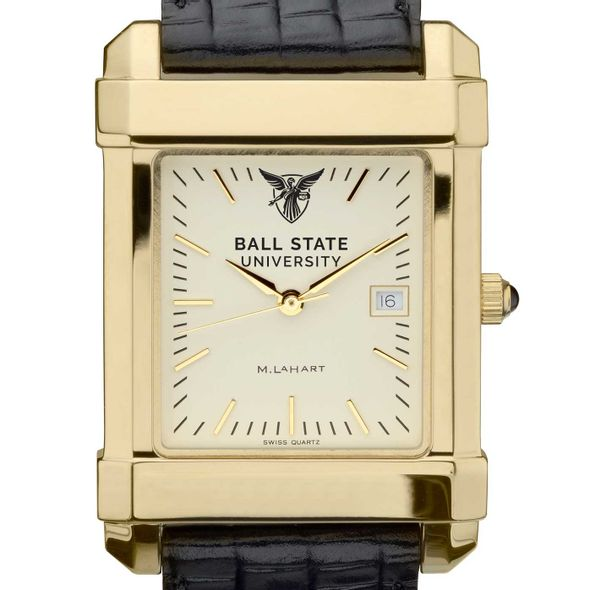 Ball State Men's Gold Quad with Leather Strap - Image 1