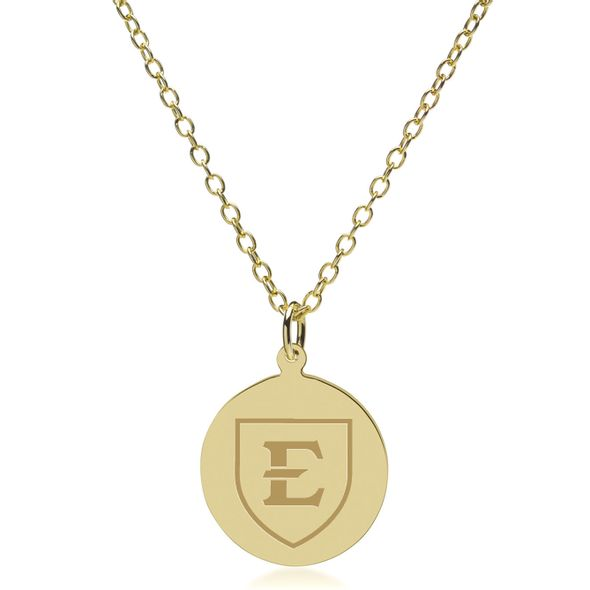 East Tennessee State University 18K Gold Pendant & Chain - Image 2