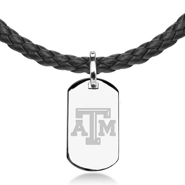 Texas A&M University Leather Necklace with Sterling Dog Tag - Image 2