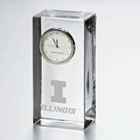 University of Illinois Tall Glass Desk Clock by Simon Pearce