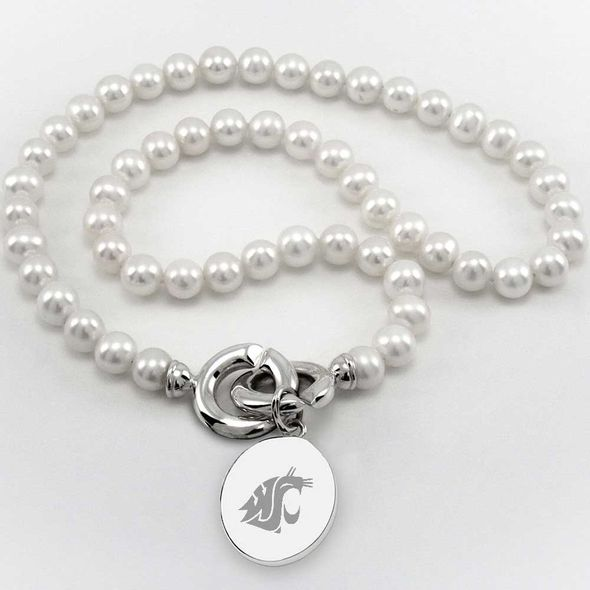 Washington State University Pearl Necklace with Sterling Silver Charm