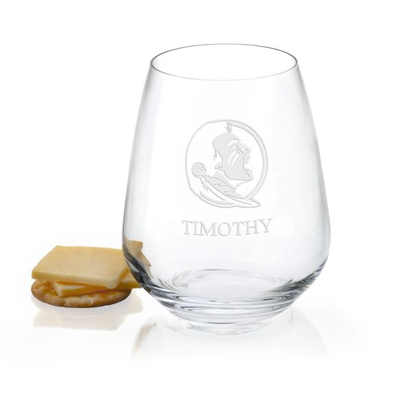 Florida State University Stemless Wine Glasses - Set of 4 - Image 1