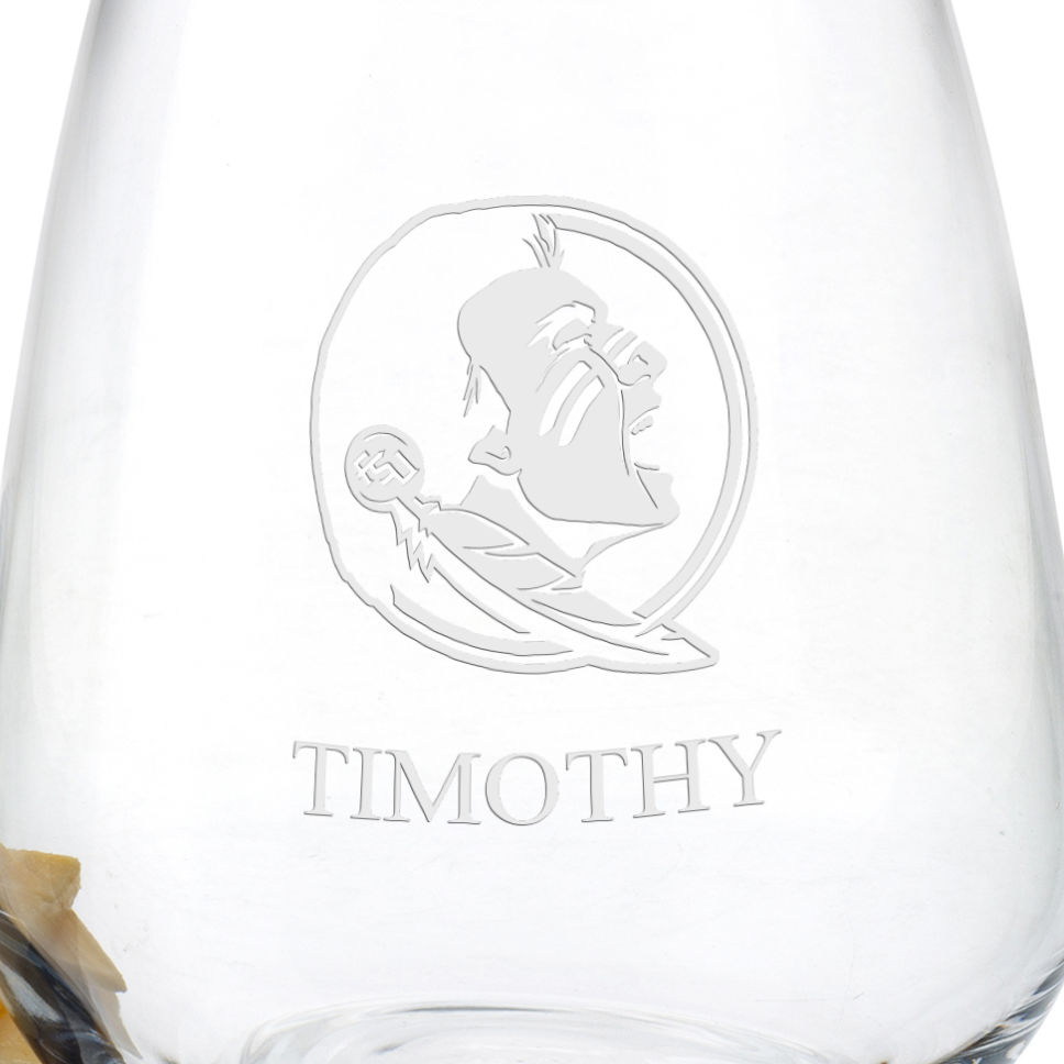 Florida State University Stemless Wine Glasses - Set of 4 - Image 3