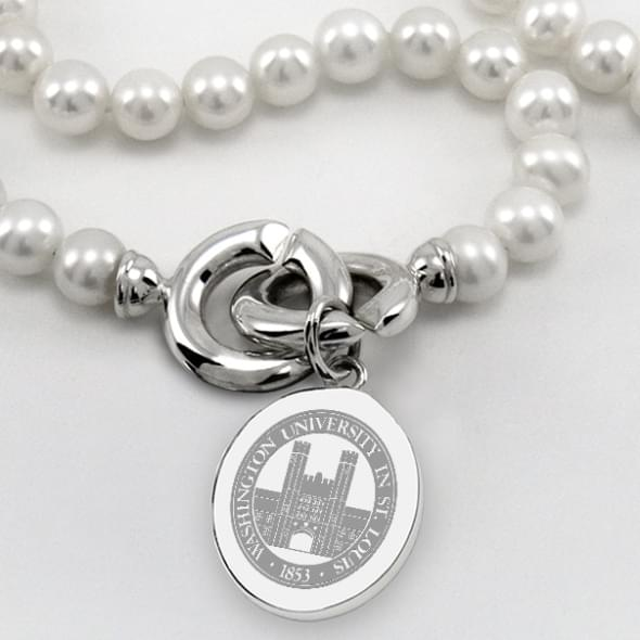 WUSTL Pearl Necklace with Sterling Silver Charm - Image 2