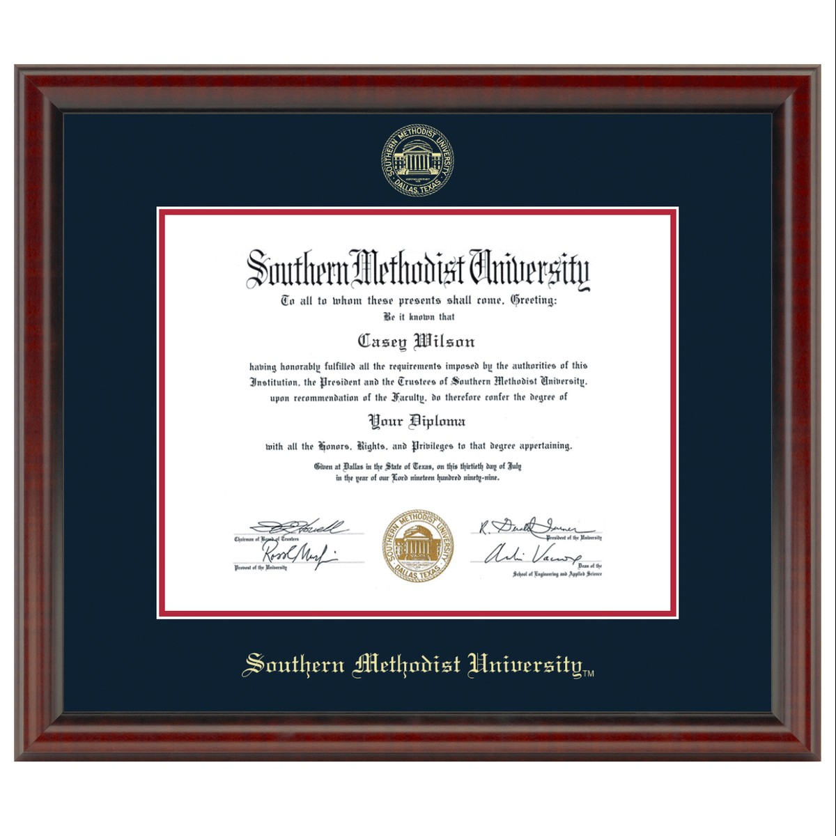 southern methodist university masters  ph d  diploma frame
