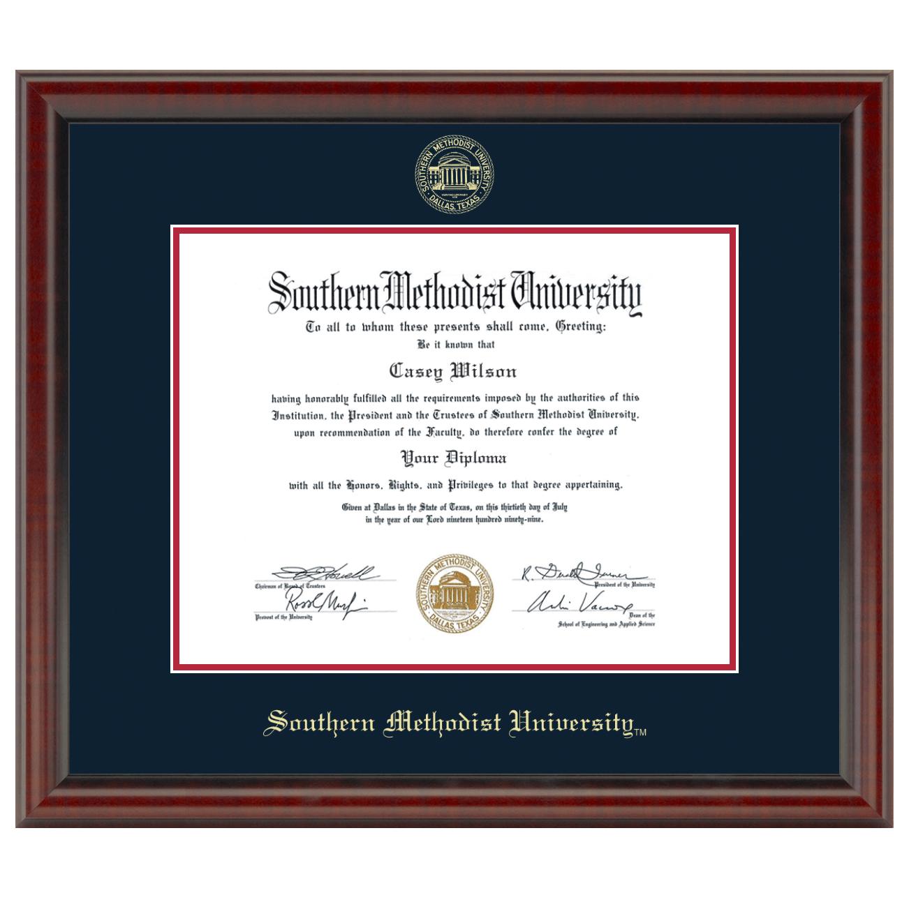 Southern Methodist University Masters/Ph.D Diploma Frame - Fidelitas ...