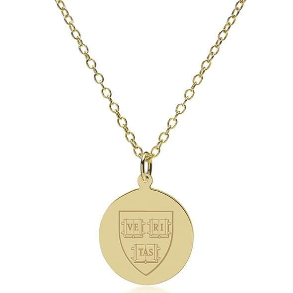 Harvard 14K Gold Pendant & Chain - Image 2