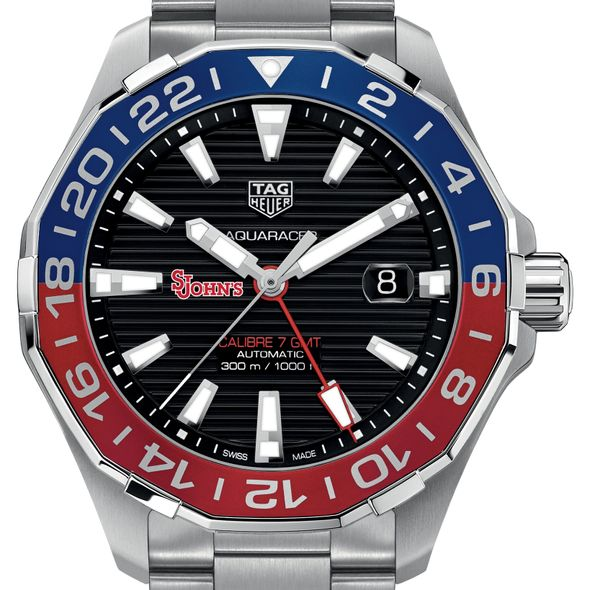 St. John's Men's TAG Heuer Automatic GMT Aquaracer with Black Dial and Blue & Red Bezel - Image 1