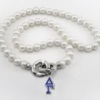 Delta Gamma Pearl Necklace with Greek Letter Charm