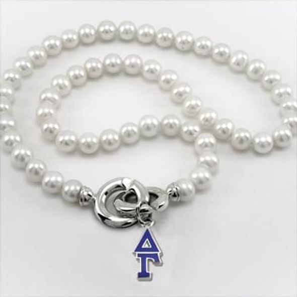 Delta Gamma Pearl Necklace with Greek Letter Charm - Image 1