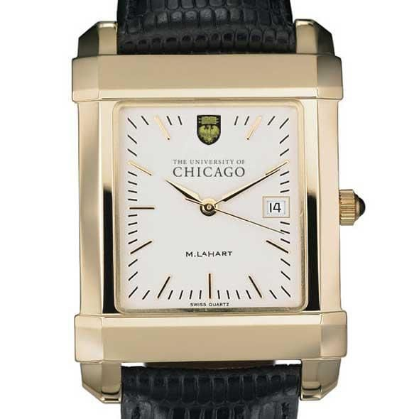 Chicago Men's Gold Quad Watch with Leather Strap