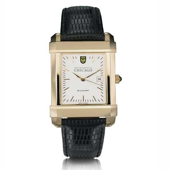 Chicago Men's Gold Quad Watch with Leather Strap - Image 2
