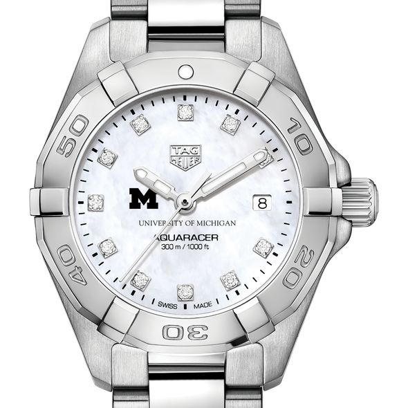 University of Michigan W's TAG Heuer Steel Aquaracer w MOP Dia Dial