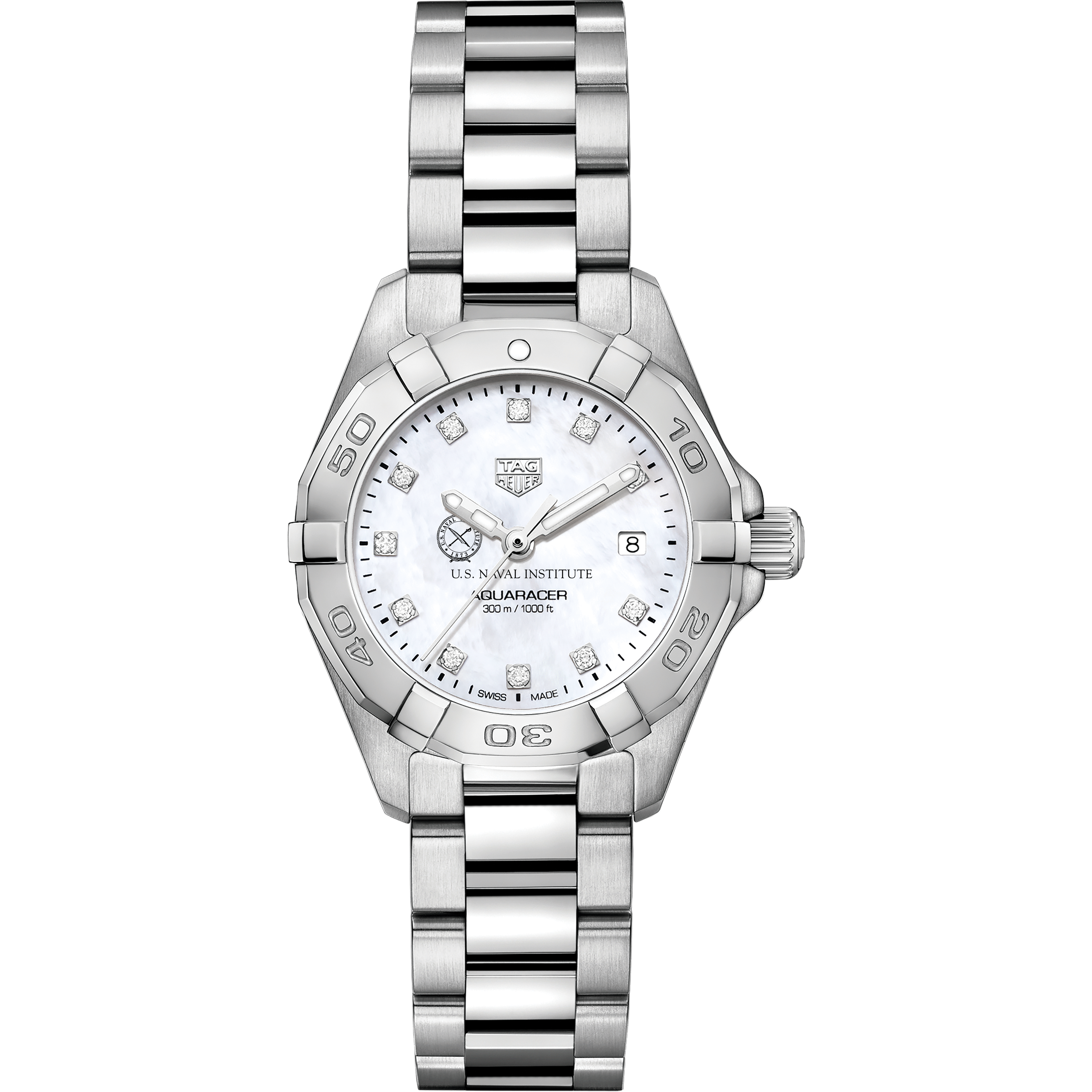 US Naval Institute Women's TAG Heuer Steel Aquaracer with MOP Diamond Dial - Image 2