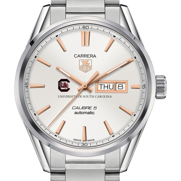 University of South Carolina Men's TAG Heuer Day/Date Carrera with Silver Dial & Bracelet