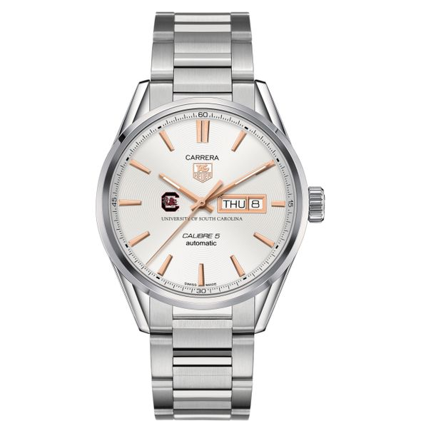 University of South Carolina Men's TAG Heuer Day/Date Carrera with Silver Dial & Bracelet - Image 2