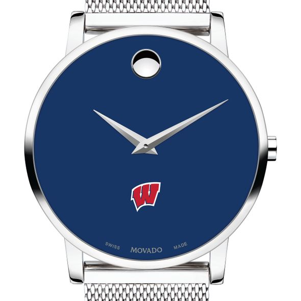 University of Wisconsin Men's Movado Museum with Blue Dial & Mesh Bracelet