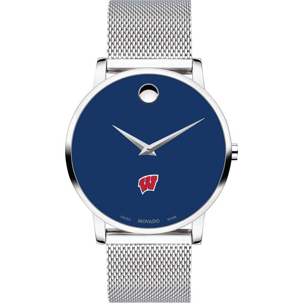 University of Wisconsin Men's Movado Museum with Blue Dial & Mesh Bracelet - Image 2