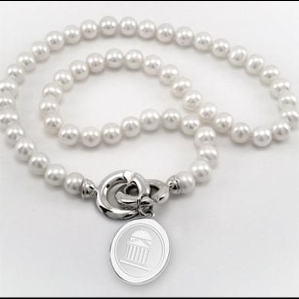 SMU Pearl Necklace with Sterling Silver Charm