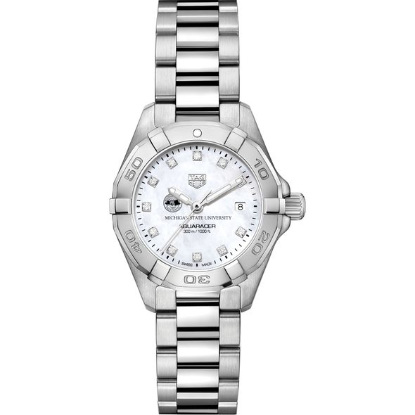Michigan State Women's TAG Heuer Steel Aquaracer with MOP Diamond Dial - Image 2